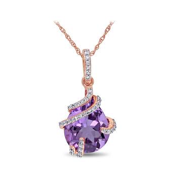 Trang sức Amour 1/8 CT Kim cương TW và 4 CT TGW Amethyst Thời trang Pendant với Chain chính hãng sale giảm giá sỉ rẻ nhất ở Hà nội TPHCM
