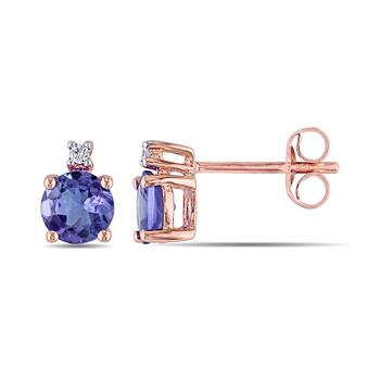 Trang sức Amour 0.02 CT Kim cương TW và 1 1/10 CT TGW Tanzanite Ear Pin Bông tai (khuyên tai