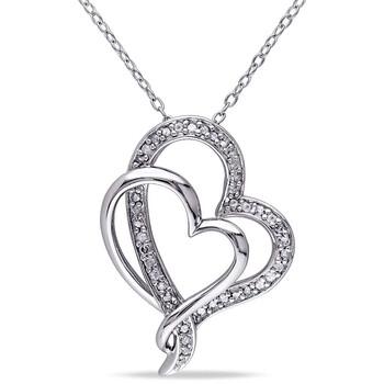 Trang sức Amour Bạc 925 1/4 CT. Interlocking Heart Pendant JMS002658 chính hãng sale giá rẻ Hà nội TPHCM