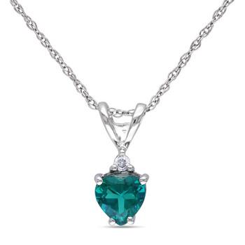 Trang sức Amour Vàng trắng 10K Emerald và Kim cương Dây chuyền (vòng cổ) JMS002678 chính hãng sale giá rẻ Hà nội TPHCM