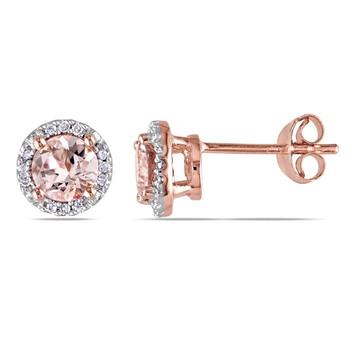Trang sức Amour Morganite và Kim cương Stud Bông tai (khuyên tai, hoa tai) JMS002975 chính hãng sale giảm giá sỉ rẻ nhất ở Hà nội TPHCM