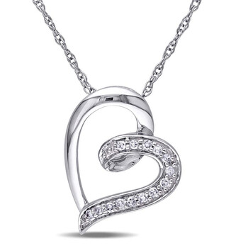 Trang sức Amour Vàng trắng 10K Hình trái tim 0.06 CT Kim cương Pendant JMS003216 chính hãng sale giá rẻ Hà nội TPHCM