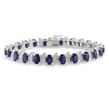 Trang sức Amour 13 1/5 CT TGW Created Blue Sapphire và Kim cương S-Link Vòng đeo tay Bạc 925 JMS003283 chính hãng sale giá rẻ Hà nội TPHCM
