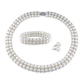 trang sức Amour White Freshwater Cultured Pearl Jewelry Set JMS003531 chính hãng sale giá rẻ tại Hà nội TPHCM