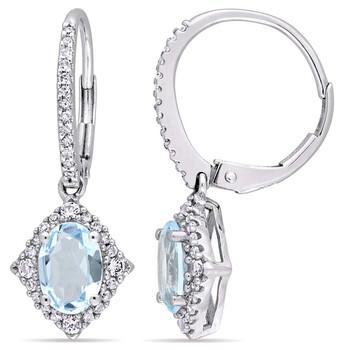 Trang sức Amour Vàng trắng 10K Blue Topaz White Sapphire và Kim cương Drop Bông tai (khuyên tai