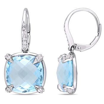 Trang sức Amour Vàng trắng 14K Sky Blue Topaz và Kim cương Drop Bông tai (khuyên tai