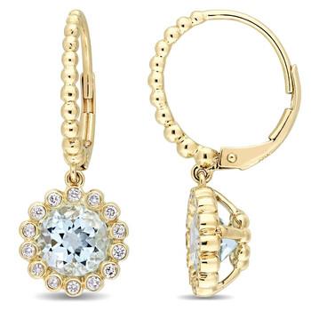 Trang sức Amour Vàng 10K Blue Topaz và Kim cương Floral Drop Bông tai (khuyên tai