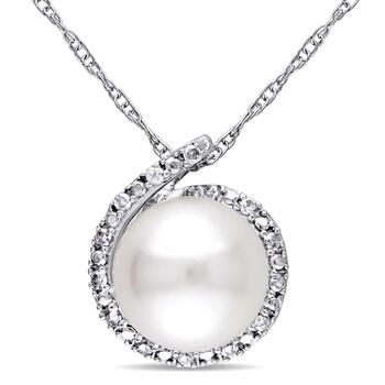 Trang sức Amour Vàng trắng 10K Freshwater White Pearl và 0.065 CT TDW Kim cương Pendant w/Chain chính hãng sale giá rẻ Hà nội TPHCM