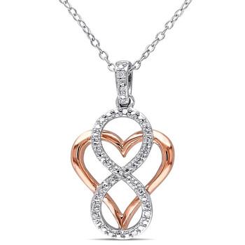 Trang sức Amour Two-Tone Silver 0.06 CT TDW Kim cương Pendant w/Chain chính hãng sale giảm giá sỉ rẻ nhất ở Hà nội TPHCM