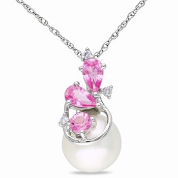 Trang sức Amour Vàng trắng 10K 8.5-9 mm Freshwater Cultured White Pearl và 0.03 CT TDW Kim cương với 5/8 CT TGW Pink Sapphire Pendant w/Chain JMS005709 chính hãng sale giá rẻ Hà nội TPHCM
