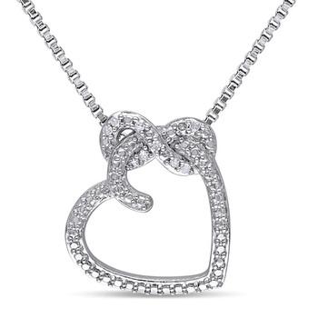 Trang sức Amour Bạc 925 0.05 CT TDW Kim cương Heart Pendant w/Chain chính hãng sale giá rẻ Hà nội TPHCM