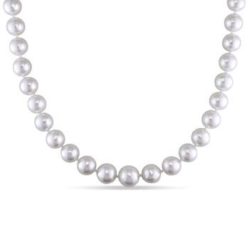 Trang sức Amour Vàng 14K 8.5-10 mm South Sea White Pearl Dây chuyền (vòng cổ) w/Corrugated Ball Clasp chính hãng sale giá rẻ Hà nội TPHCM