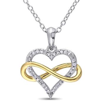 Trang sức Amour Two-Tone Silver 1/10 CT TDW Kim cương Pendant w/Chain JMS005783 chính hãng sale giá rẻ Hà nội TPHCM