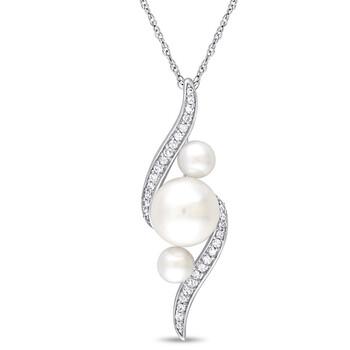 Trang sức Amour Vàng trắng 10K Freshwater Cultured White Pearl và 1/8 CT TDW Kim cương Pendant w/Chain chính hãng sale giảm giá sỉ rẻ nhất ở Hà nội TPHCM