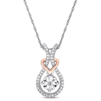 trang sức Amour 10K Two-Tone Gold 1/5 CT TDW Kim cương Pendant w/Chain chính hãng sale giá rẻ tại Hà nội TPHCM