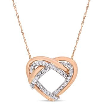 Trang sức Amour 10K Two-Tone Gold 1/5 CT TDW Kim cương Pendant w/Chain chính hãng sale giá rẻ Hà nội TPHCM