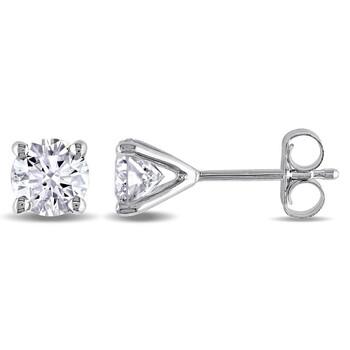 Trang sức Amour Vàng trắng 14K 1 CT TDW Kim cương Solitaire Stud Bông tai (khuyên tai
