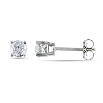 Trang sức Amour Vàng trắng 14K 1/2 CT TDW Kim cương Solitaire Stud Bông tai (khuyên tai