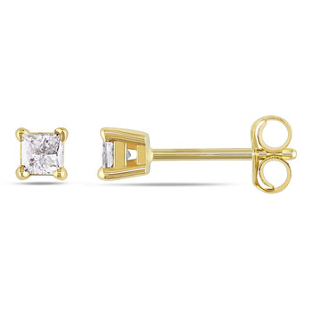 Trang sức Amour Vàng 14K 1/4 CT TDW Kim cương Solitaire Stud Bông tai (khuyên tai