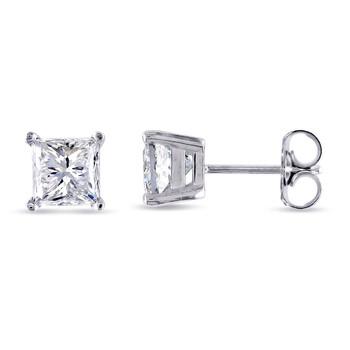 Trang sức Amour Vàng trắng 14K 2 CT TDW Kim cương Solitaire Stud Bông tai (khuyên tai