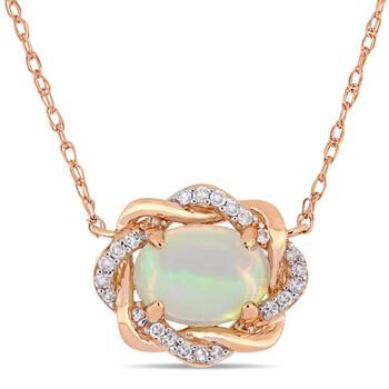 trang sức Amour Vàng hồng 10K 3/4 CT TGW Ethiopian Blue Opal và 1/10 TDW Kim cương Dây chuyền (vòng cổ) chính hãng sale giá rẻ tại Hà nội TPHCM
