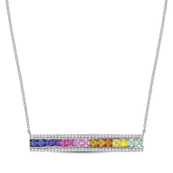 trang sức Amour 3 3/8 CT TGW Multi Color Created Sapphire Dây chuyền (vòng cổ) với Chain Silver White Length (inches): 18 chính hãng sale giá rẻ tại Hà nội TPHCM