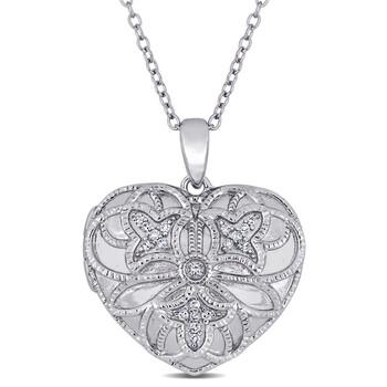 Trang sức Amour Bạc 925 1/10 CT TDW Kim cương Locket Pendant với Chain chính hãng sale giá rẻ Hà nội TPHCM