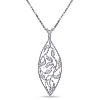 Trang sức Amour Vàng trắng 14K 2/5 CT TDW Kim cương Pendant với Chain chính hãng sale giá rẻ Hà nội TPHCM