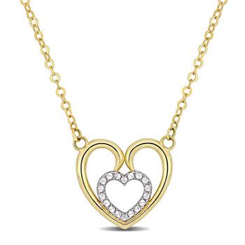 Trang sức Amour Vàng 10K Heart Dây chuyền (vòng cổ) w/White Rhodium & Cable chain w/Lobster Clasp chính hãng sale giá rẻ Hà nội TPHCM