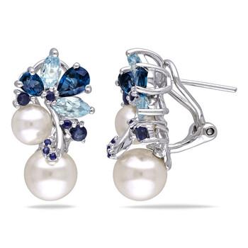 Trang sức Amour Bạc 925 FW White Pearl 5 CT TGW Multi-color Topaz và Sapphire Ear Pin Bông tai (khuyên tai