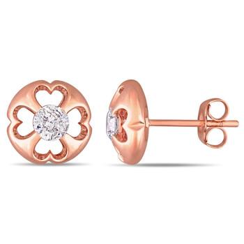 Trang sức Amour Vàng hồng 10K 1/2 CT TDW Kim cương Stud Bông tai (khuyên tai