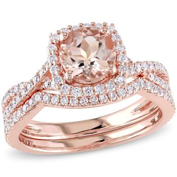 Trang sức Amour Nữ Vàng hồng 14K 1 CT Round Cut Vàng hồng Morganite Wedding Set Nhẫn Size 9 chính hãng sale giá rẻ Hà nội TPHCM