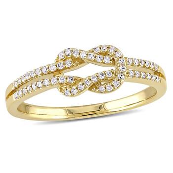 Trang sức Amour Nữ Vàng 14K 0.1624 CT Round Cut Yellow Kim cương Knot Nhẫn Size 9 chính hãng sale giảm giá sỉ rẻ nhất ở Hà nội TPHCM