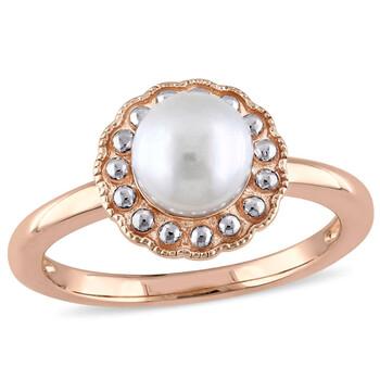 Trang sức Amour Nữ Vàng hồng 10K Round White Pearl Cocktail Nhẫn Size 9 chính hãng sale giá rẻ Hà nội TPHCM
