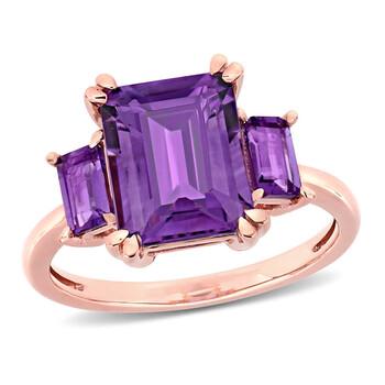 Trang sức Amour Nữ Vàng hồng 14K 3.2 CT Purple Amethyst 3 Stone Nhẫn Size 9 chính hãng sale giá rẻ Hà nội TPHCM