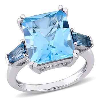 Trang sức Amour Nữ Vàng trắng 14K 7.45 CT Blue Topaz 3 Stone Nhẫn Size 9 chính hãng sale giá rẻ Hà nội TPHCM