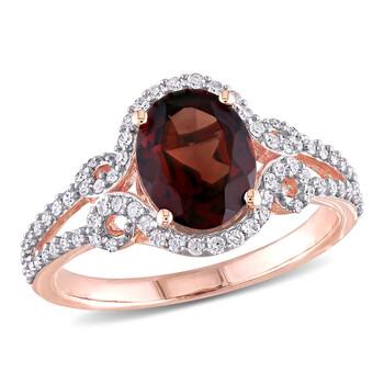 Trang sức Amour Nữ Vàng hồng 10K 2.1 CT Oval Cut Red Garnet Cocktail Nhẫn Size 9 chính hãng sale giá rẻ Hà nội TPHCM