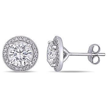 Trang sức Amour Nữ Vàng trắng 14K 2 Ct Round Cut White Moissanite và Kim cương Stud Bông tai (khuyên tai