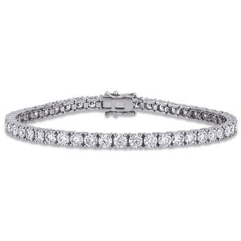 Trang sức Amour Nữ Vàng trắng 14K 8.25 Ct Round Cut White Moissanite Link Vòng đeo tay chính hãng sale giá rẻ Hà nội TPHCM