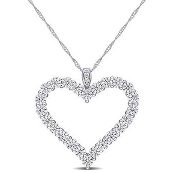 Trang sức Amour Nữ Vàng trắng 10K Round Cut White Moissanite Byzantine Pendant Dây chuyền (vòng cổ) chính hãng sale giá rẻ Hà nội TPHCM