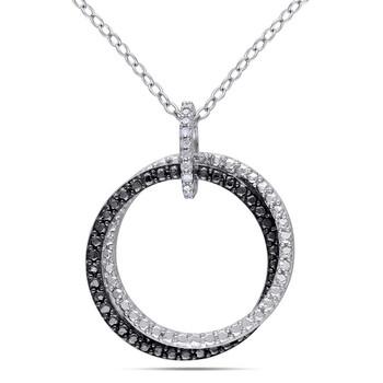 Trang sức Amour Delmar Kim cương Circle Pendant với Chain Bạc 925 với Đen Rhodium chính hãng sale giá rẻ Hà nội TPHCM