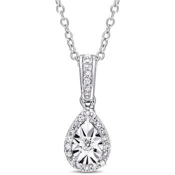 trang sức Amour 1/6 CT TW Kim cương Teardrop Halo Pendant với Chain Bạc 925 JMS004728 chính hãng sale giá rẻ tại Hà nội TPHCM