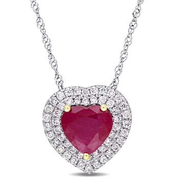 Trang sức Amour Hình trái tim Ruby và 1/4 CT TW Kim cương Double Halo Pendant với Chain Vàng trắng 14K với Yellow Gold Prongs JMS004849 chính hãng sale giá rẻ Hà nội TPHCM