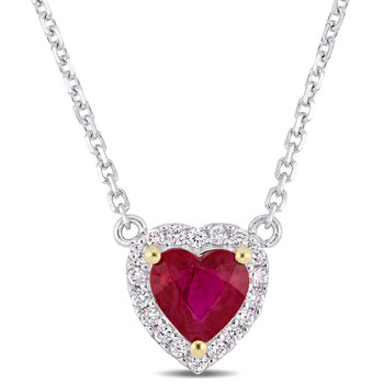 Trang sức Amour Hình trái tim Ruby và Kim cương Accent Halo Dây chuyền (vòng cổ) Vàng trắng 14K với Yellow Gold Prongs JMS004851 chính hãng sale giá rẻ Hà nội TPHCM
