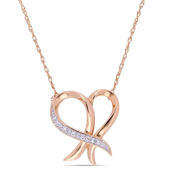 Trang sức Amour 0.05 CT TW Kim cương Cursive Open Heart Dây chuyền (vòng cổ) Vàng hồng 10K chính hãng sale giá rẻ Hà nội TPHCM
