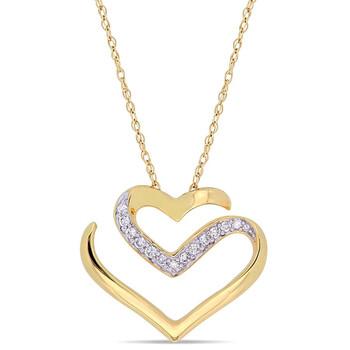 Trang sức Amour 1/10 CT TW Kim cương Cursive Double Heart Dây chuyền (vòng cổ) Vàng 10K chính hãng sale giá rẻ Hà nội TPHCM