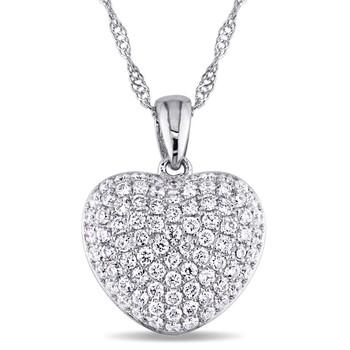 trang sức Amour 1/2 CT TW Kim cương Cluster Heart Pendant Vàng trắng 14K JMS005476 chính hãng sale giá rẻ tại Hà nội TPHCM