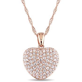 Trang sức Amour 1/2 CT TW Pave Kim cương Heart Pendant với Chain Vàng hồng 14K JMS005477 chính hãng sale giá rẻ Hà nội TPHCM