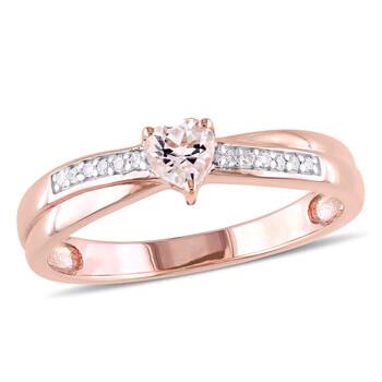 Trang sức Amour Pink Silver 0.05 CT Kim cương TW và 1/4 CT TGW Morganite Nhẫn thời trang chính hãng sale giá rẻ Hà nội TPHCM