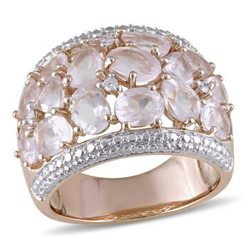 Trang sức Amour Pink Silver 0.07 CT Kim cương TW và 6 CT TGW Rose Quartz Nhẫn thời trang chính hãng sale giảm giá sỉ rẻ nhất ở Hà nội TPHCM